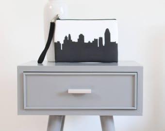 Cincinnati City Clutch Purse with Wristlet - Skyline Silhouette