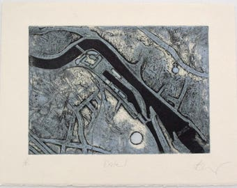 Aerial view collagraph print of Exeter. Blue Artist Proof.