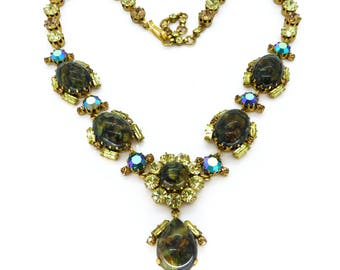 Vintage 1950s Austrian Marbled Green Glass Rhinestone Necklace