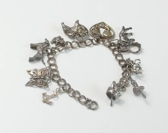 Vintage Sterling Silver 11 Charms Animal Charm Bracelet 1950's Fine Jewelry Gift For Her Best Deal