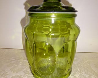 Vintage Green Glass Candy Jar Canister L E Smith Apothecary Jar