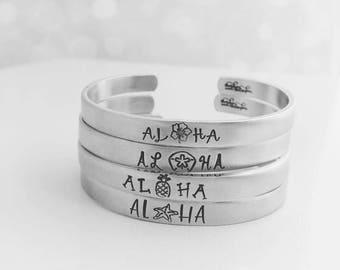 Hand Stamped Aloha Cuff Bracelet - Pineapple, Hibiscus, Sand Dollar, Star Fish - Aloha Jewelry - Aloha Bracelet - Hawaiian Jewelry