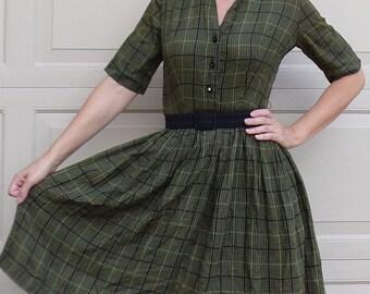 OLIVE GREEN PLAID shirtwaist dress full skirt xs S