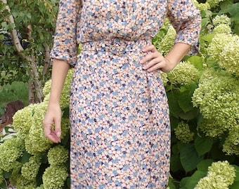 30's 40's SHEER FLORAL DRESS vintage 1930's 1940's M L