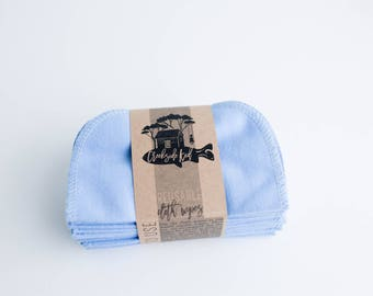 Reusable Baby Wipes Cloth Wipes Set of 20 Baby Wipes -  Periwinkle  Reusable Flannel Wipes