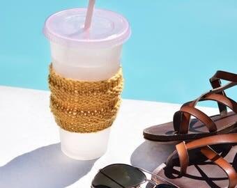 Knit Cup Cozy, Coffee Cozy, Beer Cozy / Coffee Cozy Knit Cup Sleeve / Stylish Tea Cup Holder Starbucks Cup Sleeve / Beer Cozy Accessory Cozy