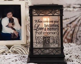 Memorial gift - in memory of gift - vintage lantern - wax melt warmer - lantern centerpiece - rustic lantern - sympathy gift - keepsake