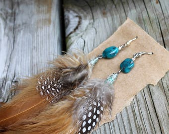 Turquoise Feather Earrings // Garden Gypsy Collective