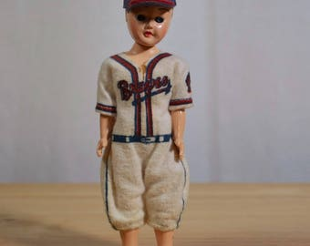 Plastic Milwaukee Braves Baseball Boy Doll