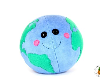 Mother Earth Plush - Earth Day Plushies - Earth Round Pillow - World Globe Soft Toy - Kawaii Planet Earth - Mother and Baby Earth