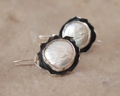 Round Flower Earrings,  Dangle Sterling Silver Floral Earrings, Large Pearl, Bridal Wedding, Coin Freshwater White Pearl