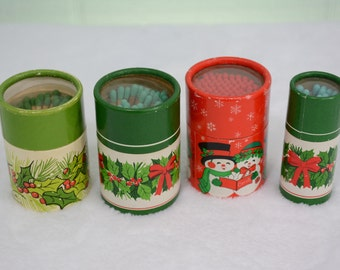 Retro Round Hallmark Christmas Holiday Match Boxes - Holly, Snowman, Wreath, Red, Green, Wooden Sticks