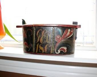 Large Norwegian Tine Box Dated 1867 Rosemaled Bentwood Antique Scandinavian