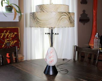 Vintage Mid Century Table Lamp and 2 Tier Shade 1950s
