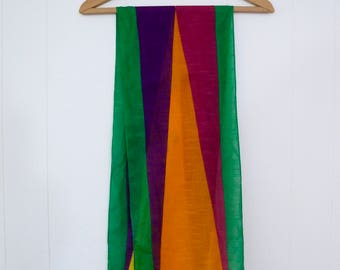 80's Kenzo Scarf Cotton Primary Color Block Long Oblong Head Scarf Wrap