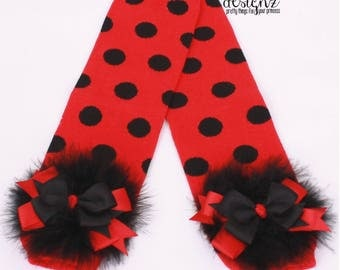 READY TO SHIP: Ladybug Leg Warmers - Red & Black - Polka Dot with Bows - Halloween Costume Accessory - Lady Love Bug - One Size