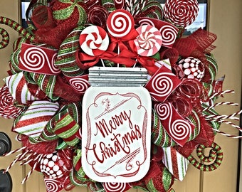 Merry Christmas Wreath ~ Christmas Deco Mesh Wreath