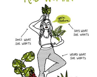 Rad Woman (Green) - A2 Greeting Card w/Envelope, girl, feminist, plants, plant lady, yoga, feminism