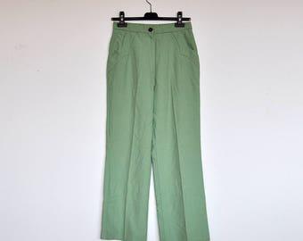 Vintage Pistachio Green High Waist Trousers