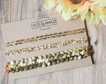 Gold metallic sequin choker necklace set | Set of 3 gold chokers | Statement jewelry necklace | Trendy tumblr chokers | Flashy jewelry |