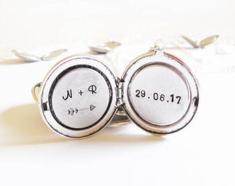 Personalized wedding jewelry Initial/Date Personalized locket initial necklace Anniversary Date Locket Disc bridesmaid gift