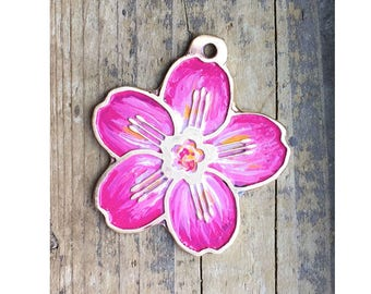 Dog Tag / Colorful Dog Tag / Large Custom Cut Cherry Blossom Pet Tag