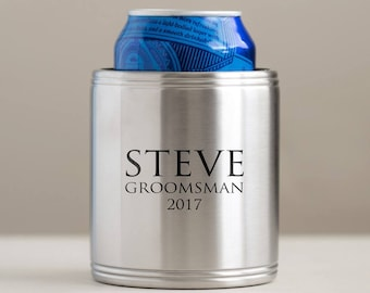 Personalized Stainless Steel Can Cooler: Custom Engraved Wedding Party Can Cooler, Groomsmen Can Holder, Groomsman Can Coolers, SHIPS FAST