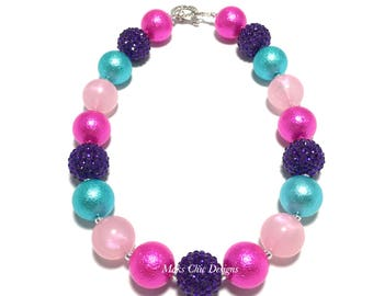 Toddler or Girls Purple, Pink, Turquoise Chunky Necklace - Valentine's Day Chunky Necklace - Unicorn Chunky Necklace - Rainbow Necklace