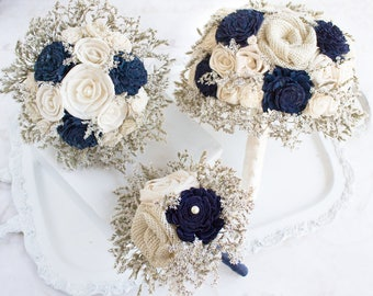 Wedding Flowers Bouquets Farmhouse Navy Blue // Wedding Bouquet Bridal Bouquet Burlap Flowers Dried Flowers Bride Bridesmaid Rustic Bouquet