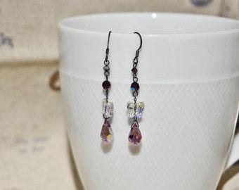 Cute Butterfly Crystal Earrings, SWAROVSKI Crystal Black Steling Silver Earrings