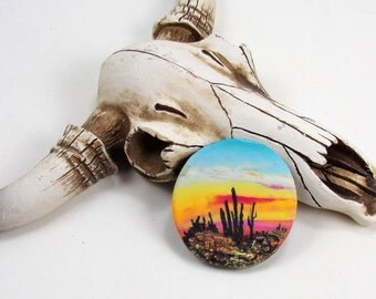 StudioStJames Rustic Handcrafted Polymer Clay Focal 34mm Pendant Cabochon Bead-Saguaro Sunset-Southwestern Theme-PA 100730