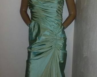 Vintage designer Tadashi metallic  avocado gathered ball gown