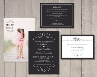 Modern Wedding Invitation, RSVP, Details Card (Printable) by Vintage Sweet