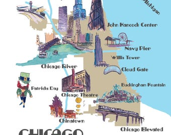 Chicago Favorite Map with touristic Top Ten Highlights - Fine Art Print
