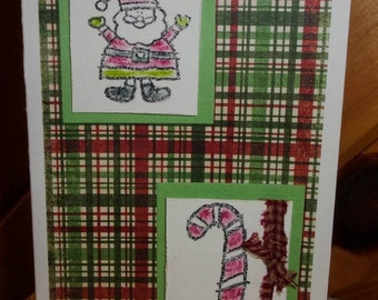 Santa Card, Candy Cane Card, Christmas Tree Card, Cute Christmas Card, Holiday Greeting Card, Card for Child, ArtFromTheCabin
