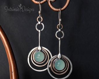 Seafoam Chalcedony Retro Earrings in Mixed Metals, Circle Earrings, Large Earrings, Long Earrings, Retro Earrings, Chalcedony Earrings