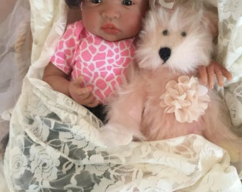 From the Biracial Shyann Kit  Reborn Baby Doll 19 inch Crying Baby Girl Aliyah Complete Baby Doll with Crying Feature