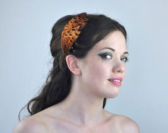 Feather Fascinator Hair Clip in Bright Copper Pheasant Feathers