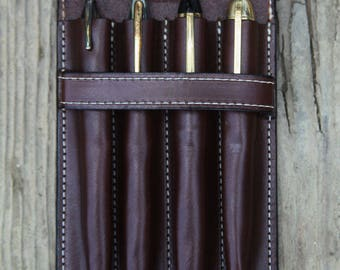 Vegetable Tan Leather Quadruple Pen Case Chocolate Brown