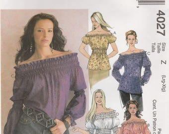 Bare Shoulder Blouse Pattern McCalls 4027 Sizes L, XL Uncut