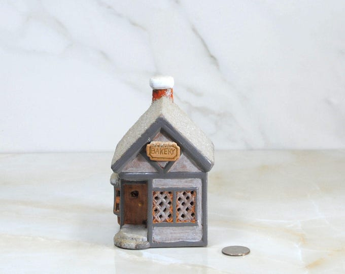 Vintage Christmas Decoration, Bakery, 1970s, Handcrafted, Hand Painted, Christmas Town, Ceramic, Vintage Diorama, Christmas Scene