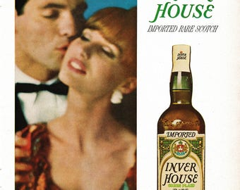 Vintage 1964 Inver House Scotch Whisky Ad: Soft as a Kiss