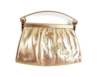 Vintage Gold Metallic Purse Handbag Formal Purse Gold Lame' Mad Men Evening Bag Pink Satin Lining Pink Coin Purse