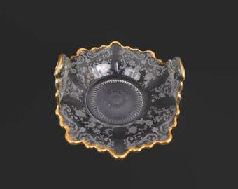 Cambridge Martha Etched Glass Bon Bon Dish Chantilly Lace Crystal Basket Double Handle Encrusted Gold Depression Glass Holiday Entertaining