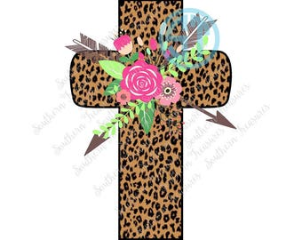 Leopard Cross, Floral Arrow Swag Sublimation Heat Transfer Pre Made DIY Iron On Personalized HTV Vinyl You Choose