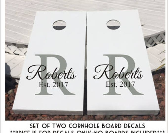 Custom Cornhole Decals Set of Two Wedding Last Name Decals Established Year Personalized Decals for Corn Toss Game Lawn Game DIY