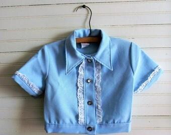 Girls Vintage Jacket, Blue Jacket, Short Sleeve Blue Jacket, Suit Jacket, Girls Vintage 1980s Suit Jacket, Dress Jacket, Kids Vintage
