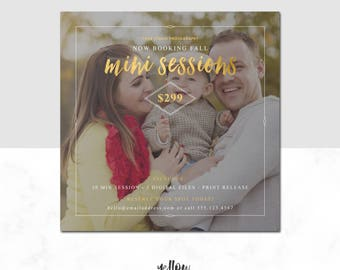 Fall Mini Template - Fall Mini Sessions - Photoshop - Holiday minis - Photographer template - Marketing - Gold Template - Digital File