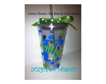 Personalized Tumbler - Customized Tumbler- Tumbler with straw - 16oz Double Wall Acrylic Personalized Tumbler