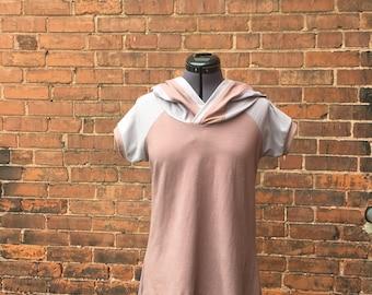 ORGANIC - grey brown casual hoodie top draped blouse short sleeve  RTS small-medium